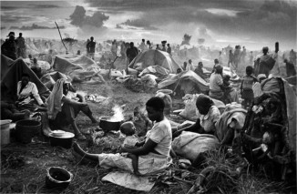"""""""Rwandan refugee camp with mother and child,"""" Tanzania, 1994"""