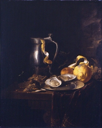"""Still Life with a Pewter Jug, Oysters, and a Lemon,"" 1633"