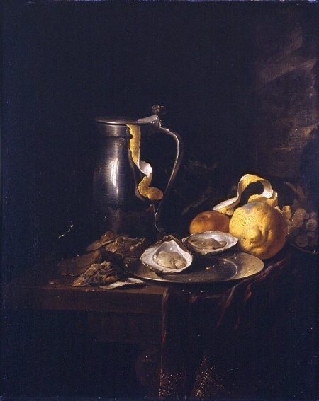 """""""Still Life with a Pewter Jug, Oysters, and a Lemon,"""" 1633"""
