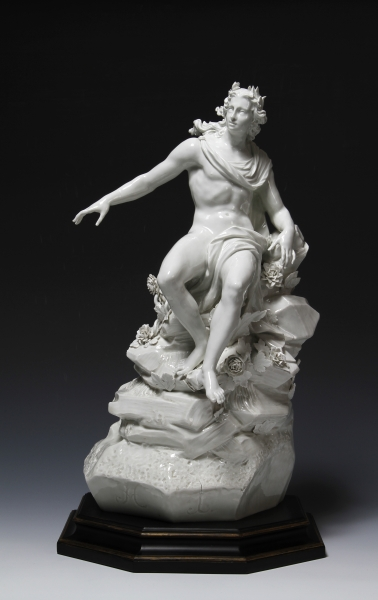 Johann Joachim Kändler German, 1706-1775 Apollo, from the 'Apollo Bath' centerpiece, c. 1748 Porcelain with clear glaze 21 3/16 in. (53.8 cm) Ackland Art Museum, The University of North Carolina at Chapel Hill Gift of the William E. Shipp Estate, by exchange 2012.7