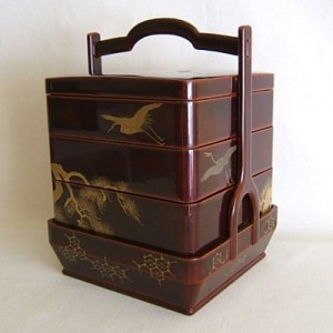 Unidentified artist Japanese Stacked Food Boxes in Handled Holder lacquer