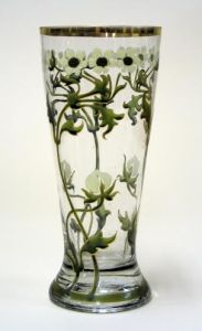 Unidentified artist German Pilsner Glass with Anemones, c. 1890 enameled glass