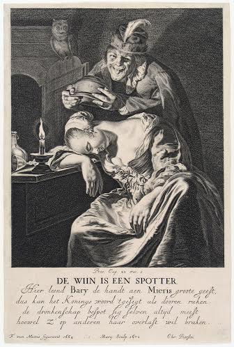 Hendrik Bary, Dutch, c. 1640 – 1707, printmaker Frans van Mieris, Dutch, 1635 – 1681 Wine Is a Mocker, printed 1670 engraving