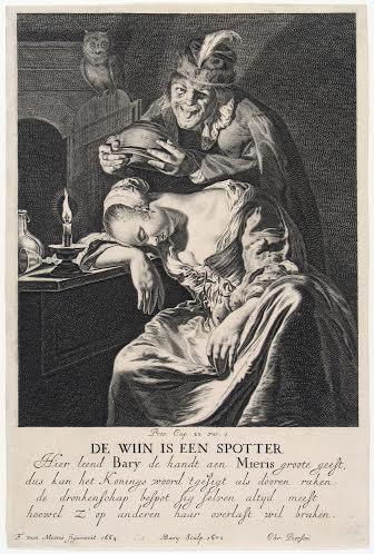 Hendrik Bary, Dutch, c. 1640 – 1707, printmaker Frans van Mieris, Dutch, 1635 – 1681 Wine Is a Mocker, printed 1670 engraving